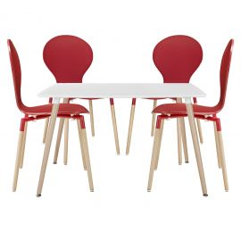 Track Dining Chairs and Table Set of 5