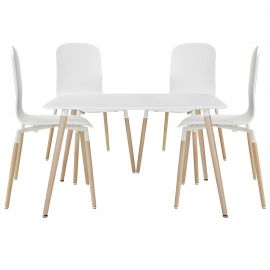 Bundle Dining Chairs and Table Wood Set of 5