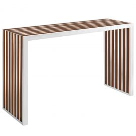 Grid Wood Inlay Console Table