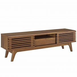 """Exhibit Mid-Century Modern 59"""" Inch TV Stand - With Sliding Doors and Storage"""