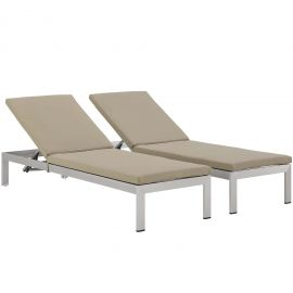 Beach Chaise with Cushions Outdoor Patio Aluminum Set of 2