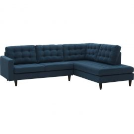 Tsarina 2 Piece Upholstered Fabric Right Facing Bumper Sectional
