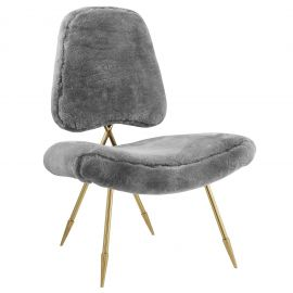 Muse Upholstered Sheepskin Fur Lounge Chair