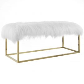 Envision White Sheepskin Bench