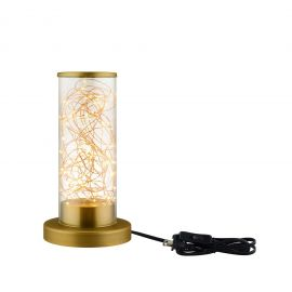 Revere Cylindrical-Shaped Clear Glass And Brass Table Lamp