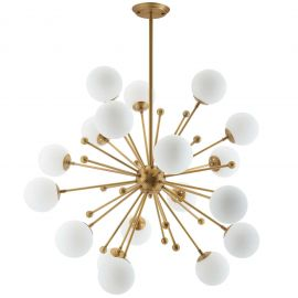Bunch White Glass and Brass Pendant Chandelier