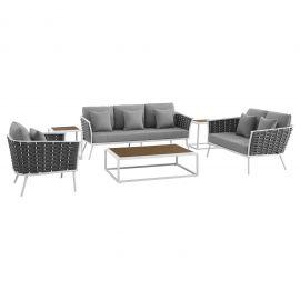 Posture 6 Piece Outdoor Patio Aluminum Sectional Sofa Set