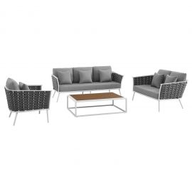 Posture 4 Piece Outdoor Patio Aluminum Sectional Sofa Set