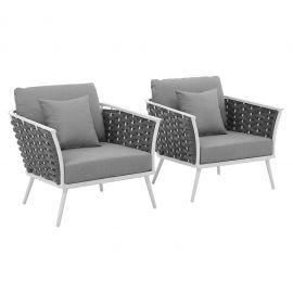 Posture Armchair Outdoor Patio Aluminum Set of 2