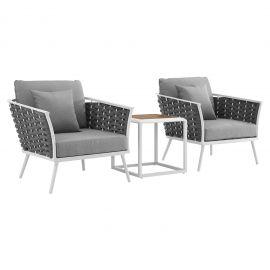 Posture 3 Piece Outdoor Patio Aluminum Sectional Sofa Set