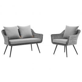 Strive 2 Piece Outdoor Patio Wicker Rattan Sectional Sofa Set