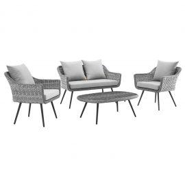 Strive 4 Piece Outdoor Patio Wicker Rattan Sectional Sofa Set