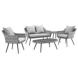 Strive 5 Piece Outdoor Patio Wicker Rattan Sectional Sofa Set