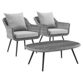 Strive 3 Piece Outdoor Patio Wicker Rattan Sectional Sofa Set
