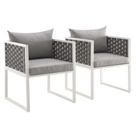 Posture Dining Armchair Outdoor Patio Aluminum Set of 2