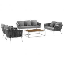 Posture 5 Piece Outdoor Patio Aluminum Sectional Sofa Set
