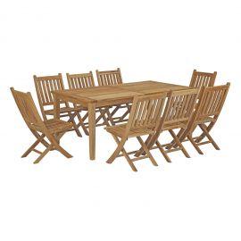 Oasis 9 Piece Outdoor Patio Teak Outdoor Dining Set