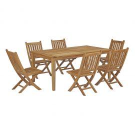 Oasis 7 Piece Outdoor Patio Teak Outdoor Dining Set