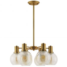 Rumble Amber Glass And Brass Pendant Chandelier