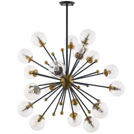 Bunch Clear Glass and Brass Ceiling Light Pendant Chandelier