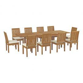 Oasis 11 Piece Outdoor Patio Teak Outdoor Dining Set