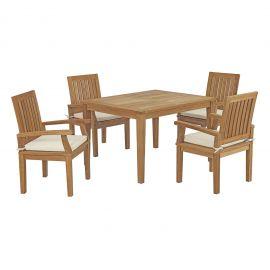 Oasis 5 Piece Outdoor Patio Teak Outdoor Dining Set