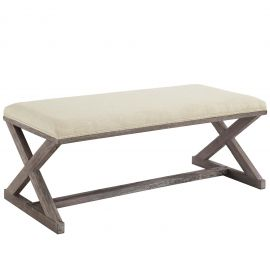Realm Vintage French X-Brace Upholstered Fabric Bench