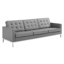 Studio Tufted Button Upholstered Faux Leather Sofa