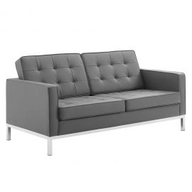 Studio Tufted Button Upholstered Faux Leather Loveseat