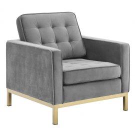 Studio Gold Stainless Steel Performance Velvet Armchair