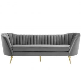 Amaya Vertical Channel Tufted Curved Performance Velvet Sofa