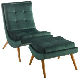 Crest Upholstered Performance Velvet Lounge Chair and Ottoman Set
