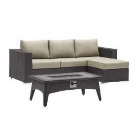 Muster 3 Piece Set Outdoor Patio with Fire Pit