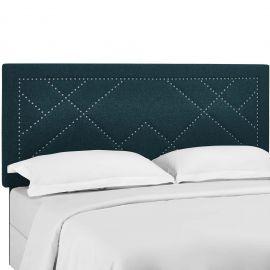 Hailey Nailhead Full / Queen Upholstered Linen Fabric Headboard