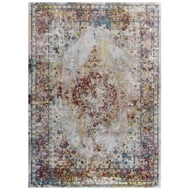 Victor Merritt Transitional Distressed Floral Persian Medallion 4x6 Area Rug
