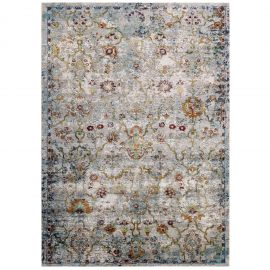 Victor Manuka Distressed Vintage Floral Lattice 4x6 Area Rug