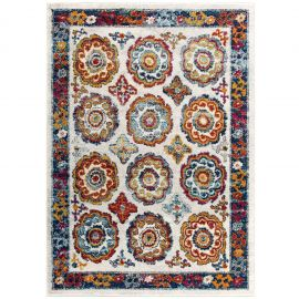 Juliana Odile Distressed Floral Moroccan Trellis 5x8 Area Rug