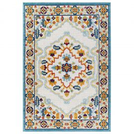 Mirror Ansel Distressed Floral Persian Medallion 5x8 Indoor and Outdoor Area Rug