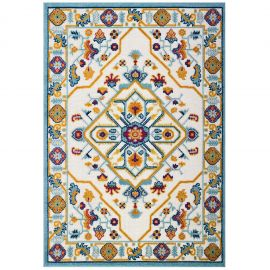 Mirror Freesia Distressed Floral Persian Medallion 5x8 Indoor and Outdoor Area Rug