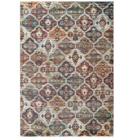 Alyssa Azalea Distressed Vintage Floral Lattice 5x8 Area Rug