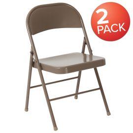 2 Pk. Marvelius Series Double Braced Beige Metal Folding Chair