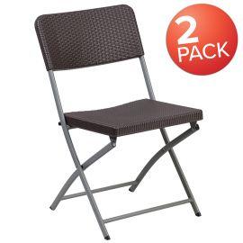 2 Pk. Marvelius Series Brown Rattan PlParkerc Folding Chair with Gray Frame