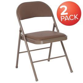 2 Pk. Marvelius Series Double Braced Beige Vinyl Folding Chair