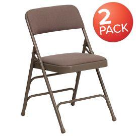 2 Pk. Marvelius Series Curved Triple Braced & Double Hinged Beige Fabric Metal Folding Chair
