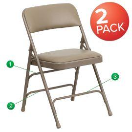 2 Pk. Marvelius Series Curved Triple Braced & Double Hinged Beige Vinyl Metal Folding Chair