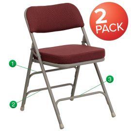 2 Pk. Marvelius Series Premium Curved Triple Braced & Double Hinged Burgundy Fabric Metal Folding Chair