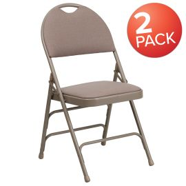 2 Pk. Marvelius Series Ultra-Premium Triple Braced Beige Fabric Metal Folding Chair with Easy-Carry Handle