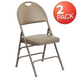 2 Pk. Marvelius Series Ultra-Premium Triple Braced Beige Vinyl Metal Folding Chair with Easy-Carry Handle