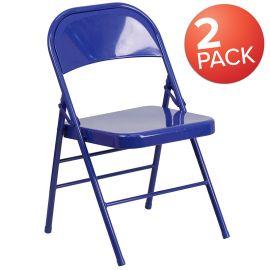 2 Pk. Marvelius Color Series Cobalt Blue Triple Braced & Double Hinged Metal Folding Chair