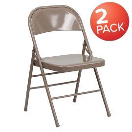 2 Pk. Marvelius Series Triple Braced & Double Hinged Beige Metal Folding Chair